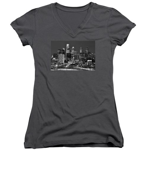 Philadelphia Skyline At Night Black And White Bw  Women's V-Neck T-Shirt (Junior Cut) by Jon Holiday