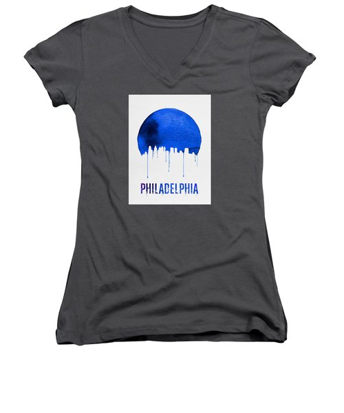Philadelphia Skyline Blue Women's V-Neck T-Shirt (Junior Cut) by Naxart Studio