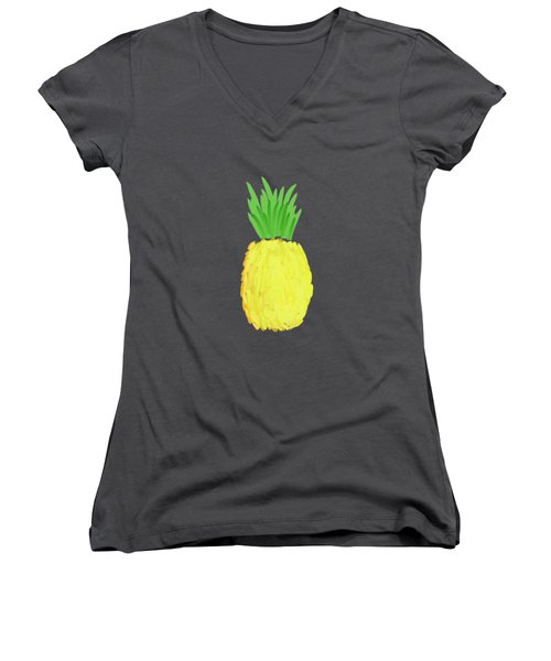 Pineapple Women's V-Neck T-Shirt (Junior Cut) by Priscilla Wolfe