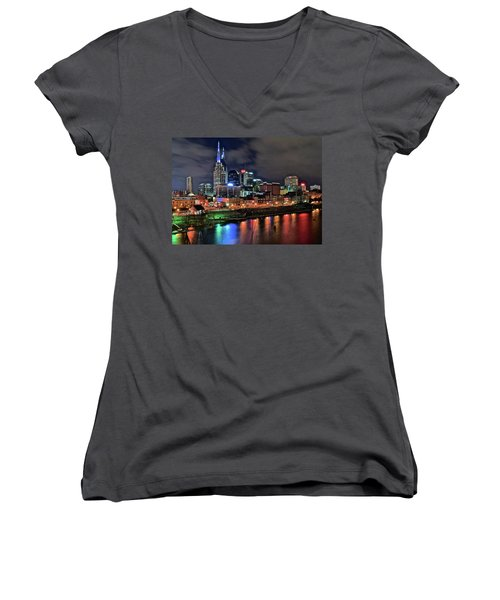 Rainbow On The River Women's V-Neck T-Shirt (Junior Cut) by Frozen in Time Fine Art Photography