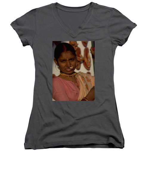 Women's V-Neck T-Shirt (Junior Cut) featuring the photograph Rajasthan by Travel Pics