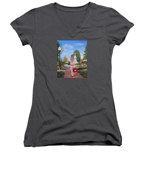 Razorback Swagger At Bentonville Square Women's V-Neck T-Shirt (Junior Cut) by Belinda Nagy