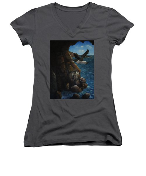 Razorbills Women's V-Neck T-Shirt (Junior Cut) by Eric Petrie