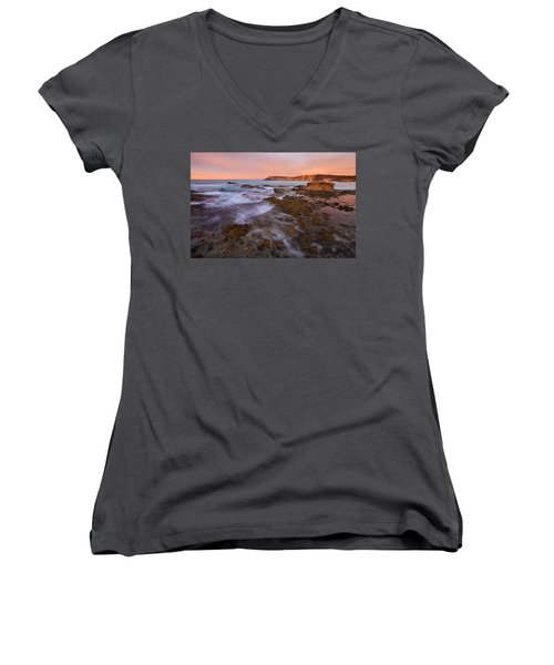 Red Dawning Women's V-Neck T-Shirt (Junior Cut) by Mike  Dawson
