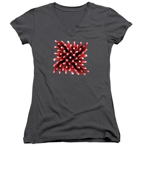 Red Sea Anemone Women's V-Neck T-Shirt (Junior Cut) by Anastasiya Malakhova