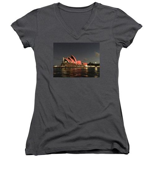 Red Sydney Opera House Women's V-Neck T-Shirt (Junior Cut) by Sandy Taylor