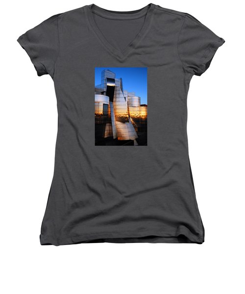 Reflections Of Sunset Women's V-Neck T-Shirt (Junior Cut) by James Kirkikis