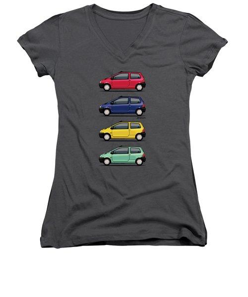 Renault Twingo 90s Colors Quartet Women's V-Neck T-Shirt (Junior Cut) by Monkey Crisis On Mars