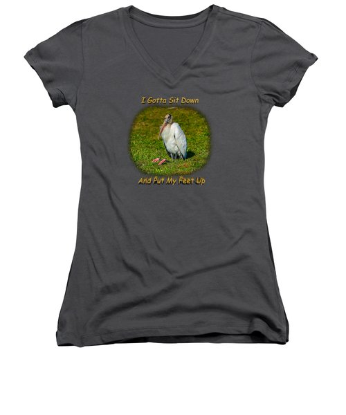 Resting Woodstork Women's V-Neck T-Shirt (Junior Cut) by John M Bailey