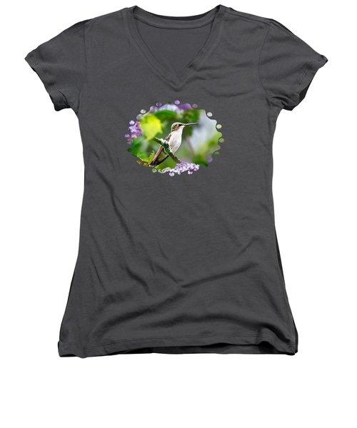 Ruby-throated Hummingbird-1 Women's V-Neck T-Shirt (Junior Cut) by Christina Rollo