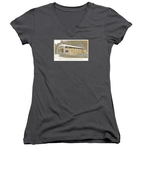 Women's V-Neck T-Shirt (Junior Cut) featuring the digital art Rupert Covered Bridge Bloomburg Pennsylvania by A Gurmankin