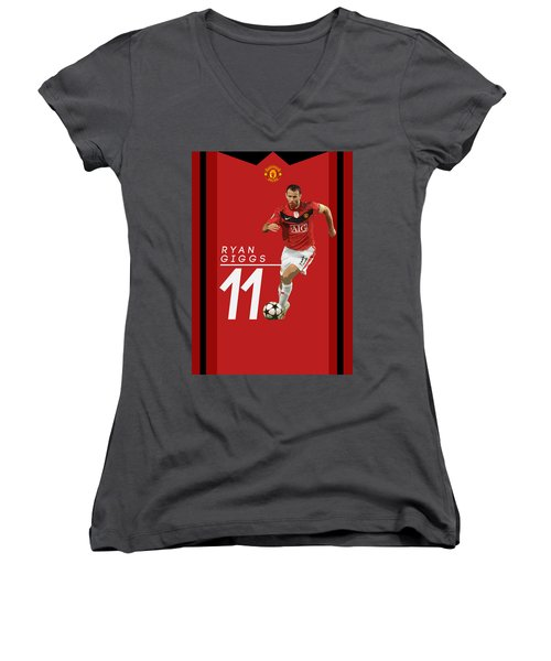 Ryan Giggs Women's V-Neck T-Shirt (Junior Cut) by Semih Yurdabak