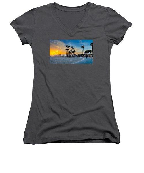 Santa Monica Sunset Women's V-Neck T-Shirt (Junior Cut) by Az Jackson