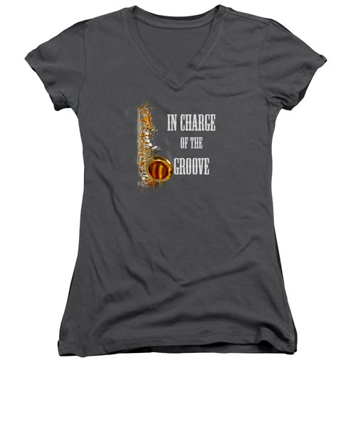 Saxophones In Charge Of The Groove 5531.02 Women's V-Neck T-Shirt (Junior Cut) by M K  Miller