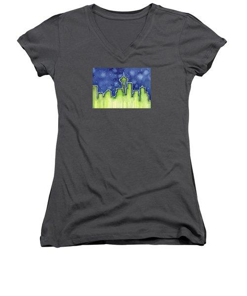 Seattle Night Sky Watercolor Women's V-Neck T-Shirt (Junior Cut) by Olga Shvartsur