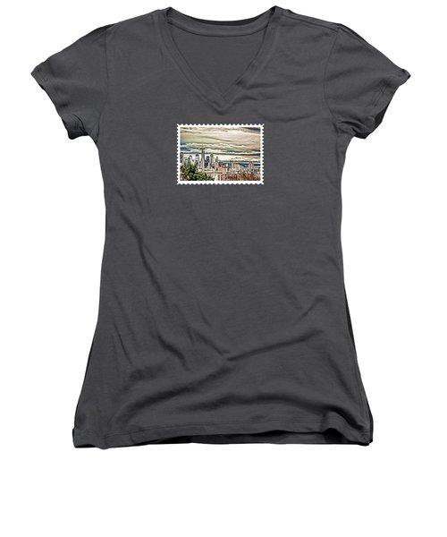Seattle Skyline In Fog And Rain Women's V-Neck T-Shirt (Junior Cut) by Elaine Plesser