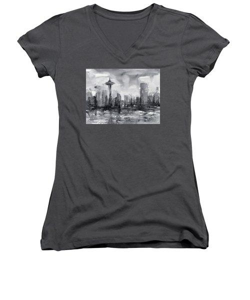 Seattle Skyline Painting Watercolor  Women's V-Neck T-Shirt (Junior Cut) by Olga Shvartsur