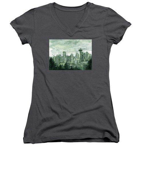 Seattle Skyline Watercolor Space Needle Women's V-Neck T-Shirt (Junior Cut) by Olga Shvartsur