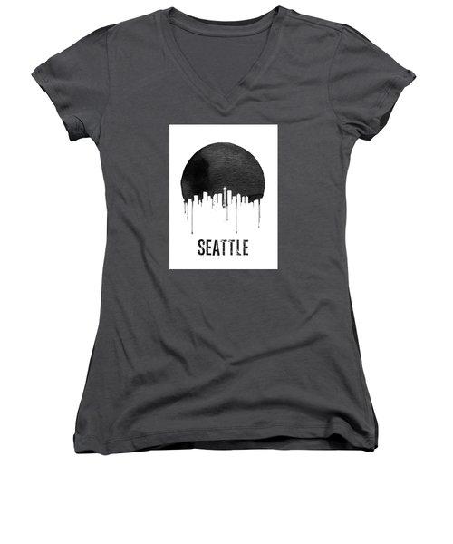 Seattle Skyline White Women's V-Neck T-Shirt (Junior Cut) by Naxart Studio