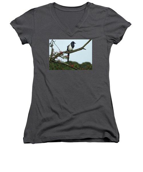 September Magpie Women's V-Neck T-Shirt (Junior Cut) by Philip Openshaw