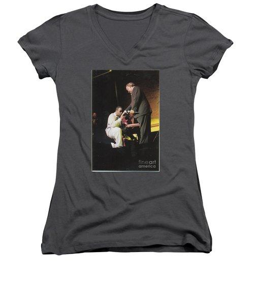 Sharpton 50th Birthday Women's V-Neck T-Shirt (Junior Cut) by Azim Thomas
