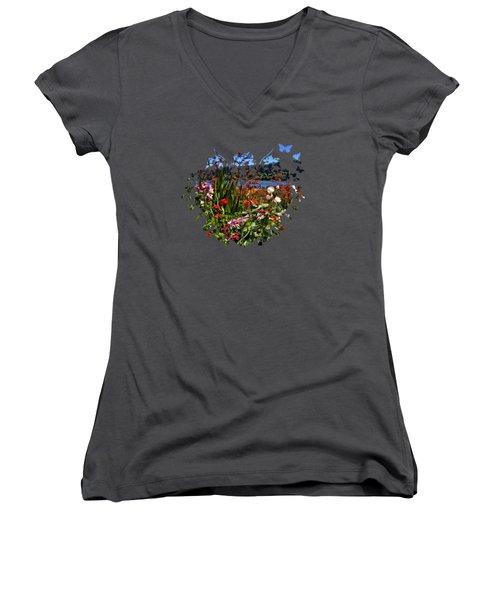 Siuslaw River Floral Women's V-Neck T-Shirt (Junior Cut) by Thom Zehrfeld