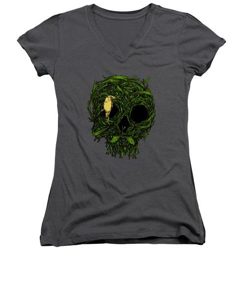Skull Nest Women's V-Neck T-Shirt (Junior Cut) by Carbine