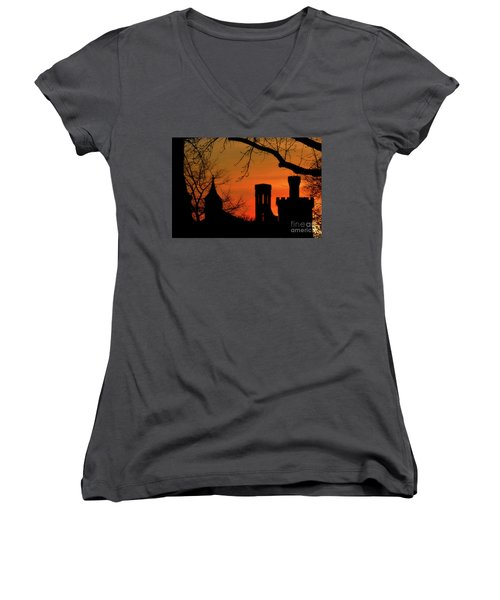 Smithsonian Castle Women's V-Neck T-Shirt (Junior Cut) by Luv Photography