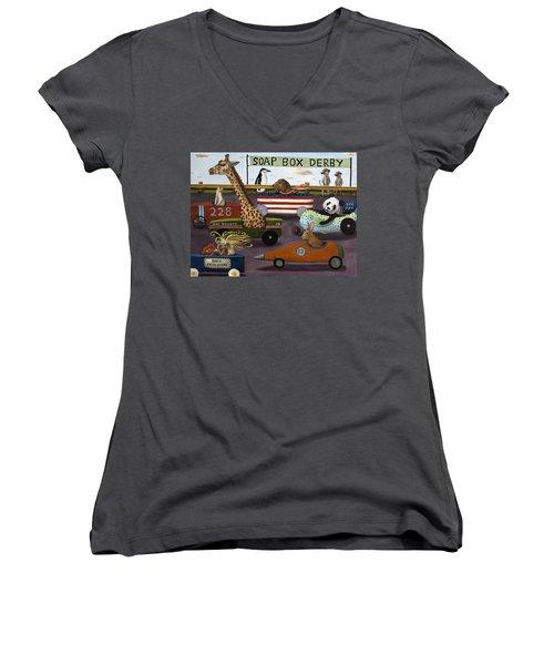 Soap Box Derby Women's V-Neck T-Shirt (Junior Cut) by Leah Saulnier The Painting Maniac