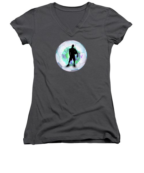 Soccer Player Posing With Ball Soccer Background Women's V-Neck T-Shirt (Junior Cut) by Elaine Plesser