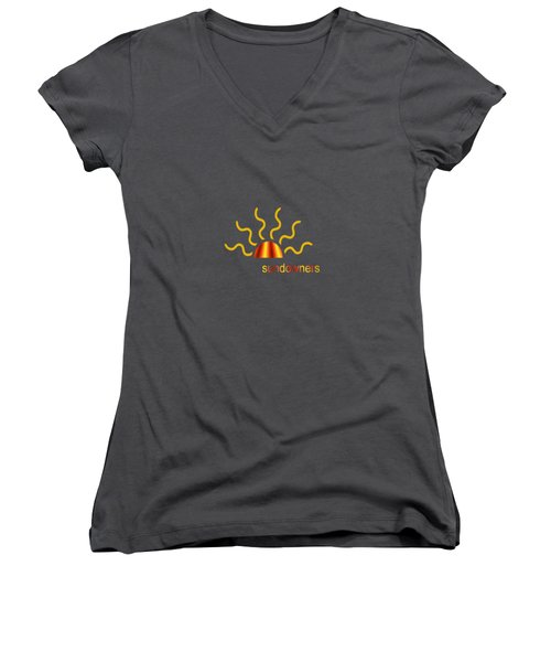 Solitary Seagull Women's V-Neck T-Shirt (Junior Cut) by Valerie Anne Kelly