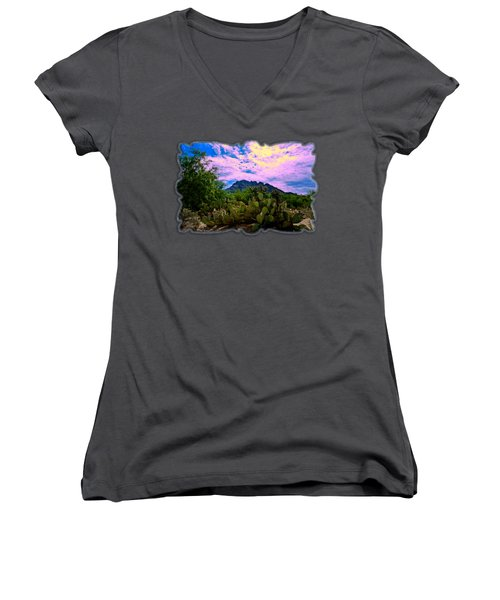Sonoran Morning H54 Women's V-Neck T-Shirt (Junior Cut) by Mark Myhaver