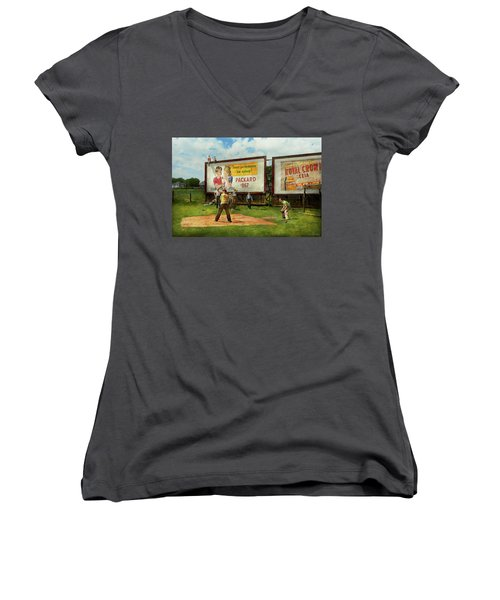 Sport - Baseball - America's Past Time 1943 Women's V-Neck T-Shirt (Junior Cut) by Mike Savad