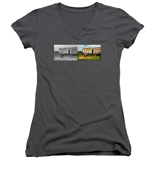 Sport - Baseball - America's Past Time 1943 - Side By Side Women's V-Neck T-Shirt (Junior Cut) by Mike Savad