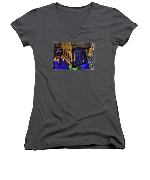Statue Of Liberty Las Vegas Reflections Women's V-Neck T-Shirt (Junior Cut) by Roger Passman