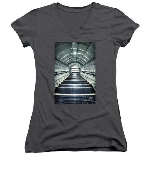 Steppings Tones Women's V-Neck T-Shirt (Junior Cut) by Evelina Kremsdorf
