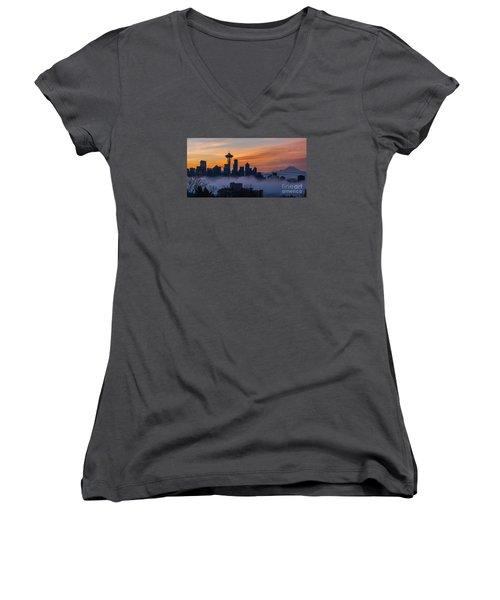 Sunrise Seattle Skyline Above The Fog Women's V-Neck T-Shirt (Junior Cut) by Mike Reid