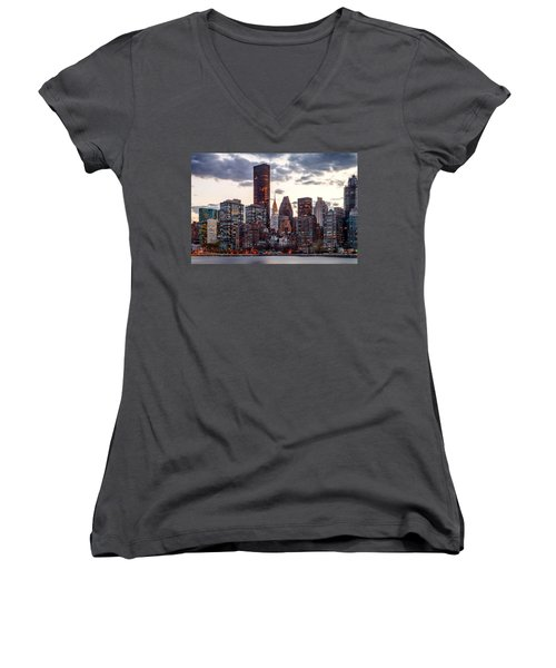 Surrounded By The City Women's V-Neck T-Shirt (Junior Cut) by Az Jackson