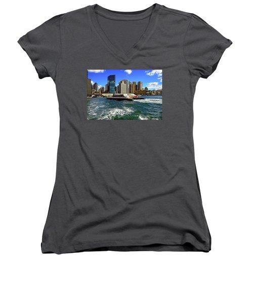 Sydney Skyline From Harbor By Kaye Menner Women's V-Neck T-Shirt (Junior Cut) by Kaye Menner