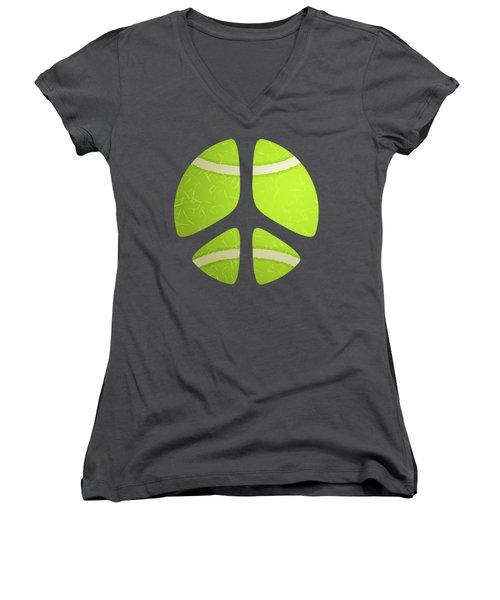 Tennis Ball Peace Sign Women's V-Neck T-Shirt (Junior Cut) by David G Paul