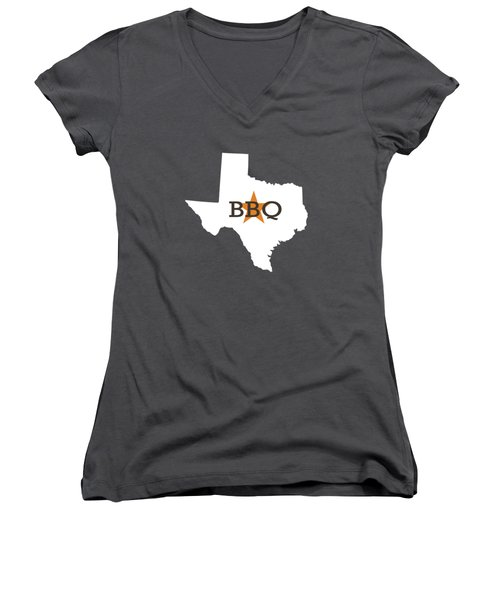 Texas Bbq Women's V-Neck T-Shirt (Junior Cut) by Nancy Ingersoll