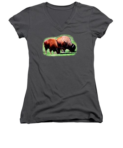 Texas Bison Women's V-Neck T-Shirt (Junior Cut) by Linda Phelps
