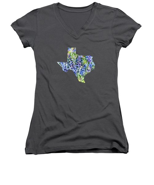 Texas Blue Texas Map On White Women's V-Neck T-Shirt (Junior Cut) by Hailey E Herrera