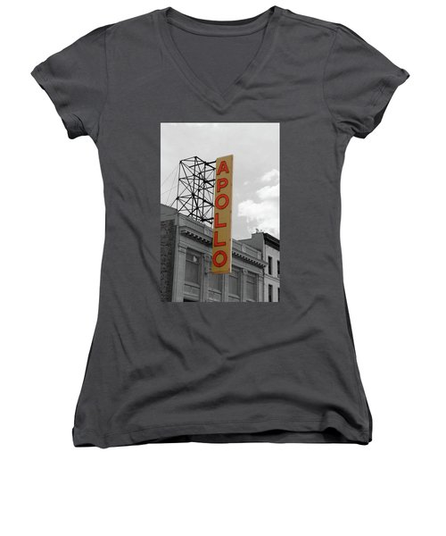The Apollo In Harlem Women's V-Neck T-Shirt (Junior Cut) by Danny Thomas