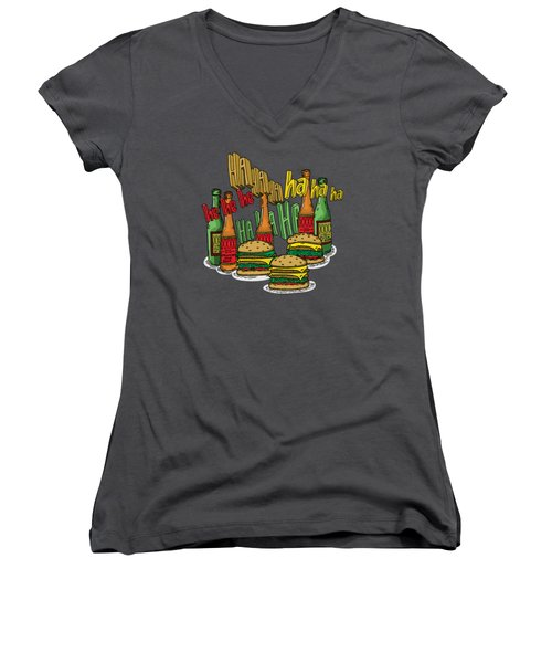 The Big Lebowski  Some Burgers Some Beers And A Few Laughs  In And Out Burger Jeff Lebowski Women's V-Neck T-Shirt (Junior Cut) by Paul Telling