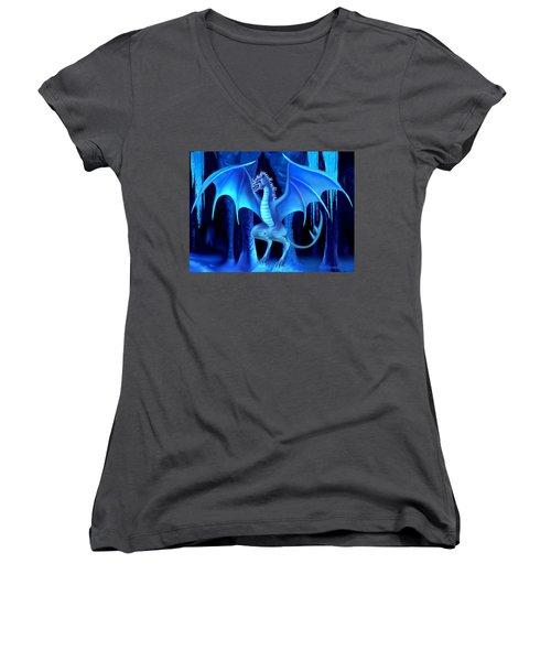 The Blue Ice Dragon Women's V-Neck T-Shirt (Junior Cut) by Glenn Holbrook