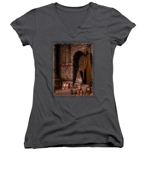 The Dark Women's V-Neck T-Shirt (Junior Cut) by Sharon and Renee Lozen