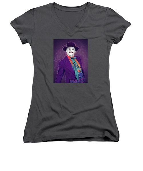 The Joker Women's V-Neck T-Shirt (Junior Cut) by Taylan Apukovska