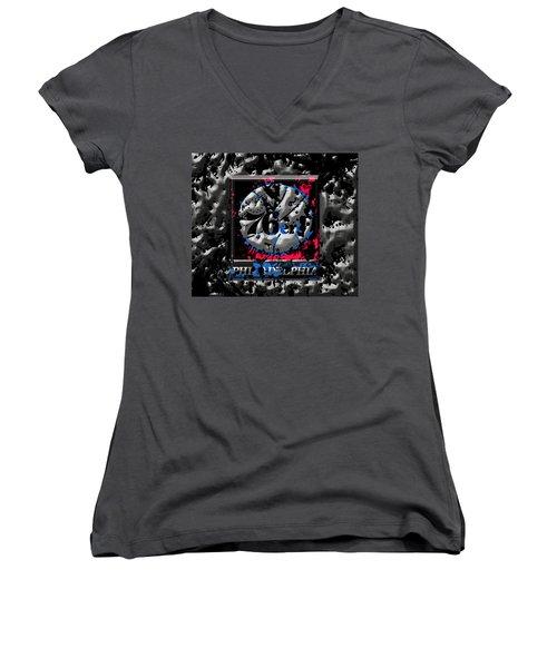 The Philadelphia 76ers Women's V-Neck T-Shirt (Junior Cut) by Brian Reaves