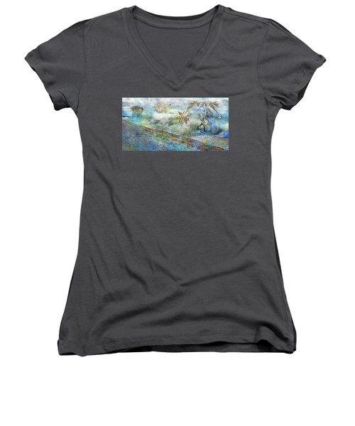 The Piano  Women's V-Neck T-Shirt (Junior Cut) by Betsy Knapp